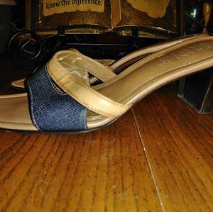 Denim and Tan Leather Square Toe Sandal